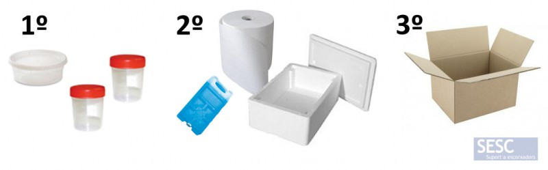 Correct packaging of biological samples. 1º: Primary airtight container. 2º: Secondary container, preferably thermally insulated, including a refrigerant block and absorbent material. 3º: External box with documentation of samples, printed analysis application form and destinatary adress.