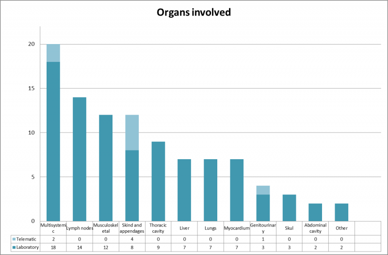 Organs distribution of the inquiries received. Within the category of multisystemic we allocated, for example, samples to confirm Marek's disease. Most samples of muscle/myocardium were submitted to confirm a diagnosis of cysticercosis.