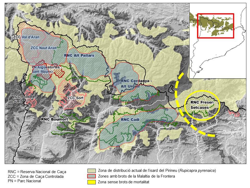 Mapa de la distribució de la malaltia.